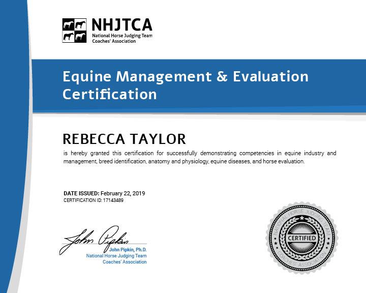 Equine Management & Evaluation Certification